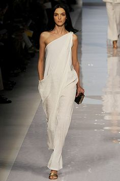 Great for the Summer: Flowing one shoulder wedding jumpsuit.