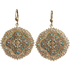 Catherine Popesco 14k Gold Plated Filigree Medallion Crystal Earrings,... ($56) ❤ liked on Polyvore