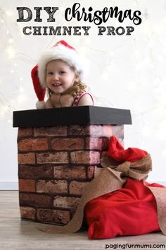 DIY Chimney Photo Prop! Link to buy the wallpaper sample for seven dollars! Such a FUN Christmas project!
