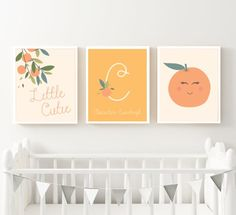Orange Clementine Nursery Art Print Set - Printable Little Cutie Personalized Set of 3 Wall Decor - Monogram Gender Neutral Baby Gift Nursery Themes, Nursery Prints, Nursery Art, Nursery Ideas, Orange Nursery, Nursery Neutral, Hart Of Dixie, Beautiful Posters, Gender Neutral Baby