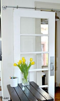 How to turn a door into a sliding door, without buying fancy and expensive sliding door hardware! Informations About How to Turn a Door into a Sliding Door - The DIY Bungalow Pin You can easily use my Sliding Door Handles, Diy Sliding Door, Diy Door, Interior Barn Door Hardware, Sliding Barn Door Hardware, Interior Doors, Interior Design, Old Doors, Home Remodeling