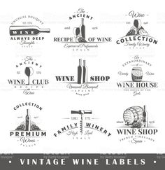 Set of vintage wine labels royalty-free stock vector art Vintage Wine, Vintage Shops, Royalty Free Images, Royalty Free Stock Photos, Wine Logo, Wine House, Wine Collection, Liquor Store, Logo Images