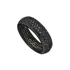 Socheec Oxidized White Gold Black Diamond Cigar Eternity Band ($1,628) ❤ liked on Polyvore featuring jewelry, rings, oxidized jewelry, black diamond eternity band ring, black diamond jewelry, eternity ring and eternity band ring