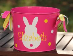 Personalized volleyball easter basket pail monogram easter basket custom made easter basket metal pail monogram personalized with bunny and name metal easter bucket pail negle Choice Image
