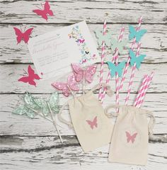 BUTTERFLY Personalized Favor Bags  Set of by foryourlittlemonkey
