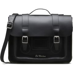 "Dr. Martens 15"" Leather Satchel ($200) ❤ liked on Polyvore featuring bags, handbags, black, black handbags, genuine leather purse, black leather handbags, satchel handbags and handbag satchel"