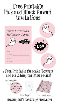 Free Printable Pink and Black Kawaii Ghost Invitations plus free cupcake toppers, and matching party supplies. Free Planner, Printable Planner, Happy Planner, Free Printables, Holiday Activities, Wall Art Quotes, Youre Invited, Crafty Projects, Teacher Appreciation