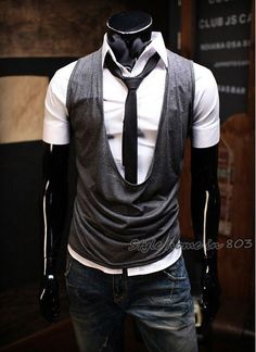 Mens Vest 2011 New South Korean Hot Style Mens Casual Vest Cotton Sports & Slim Wholesale & Retail
