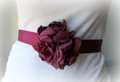 Plum Wine Colored Cabbage Rose Wedding Sash by thelaughingprincess, $28.50