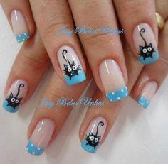 Neko♥ nail designs 2019 nail designs for short nails 2019 nail art stickers online nail art stickers at home nail art strips Fancy Nails, Cute Nails, Pretty Nails, Cat Nail Art, Animal Nail Art, Nail Art Printer, Wow Nails, Nails For Kids, Stylish Nails