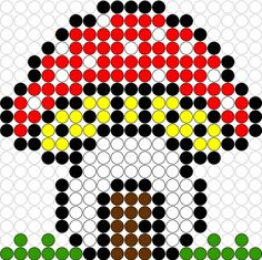 Kralenplank Paddestoel 1 Perler Beads, Perler Bead Art, Fuse Beads, Beaded Flowers Patterns, Beading Patterns, Tiny Cross Stitch, Cross Stitch Patterns, Crafts To Sell, Diy And Crafts