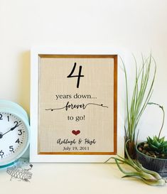 4 Year Anniversary Gift Linen 4th For Husband Wife Years Together Print Frame Not Included