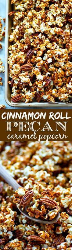 This addicting caramel popcorn is loaded with tons of cinnamon and toasty pecans and makes the absolute best holiday snack! Make a double batch because it's going to disappear that fast.use vegan butter Gourmet Popcorn, Popcorn Snacks, Popcorn Balls, Flavored Popcorn, Snack Recipes, Dessert Recipes, Cooking Recipes, Popcorn Seasoning, Holiday Snacks