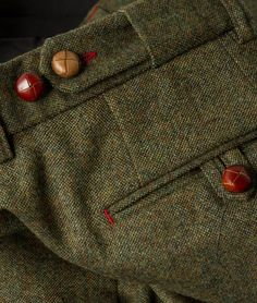 Men's Olive Pipe Donegal Tweed Suit with covered buttons.