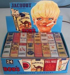 Bobs Chocolate Candy Cigarette Box lamp French Jacquot Troyes A big fan favorite Candy cigarettes. Oh I remember these when I was a kid! My friends and I got chewed out by a little old man in my neigh Vintage Candy, Vintage Toys, Retro Candy, Retro Vintage, Best Memories, Childhood Memories, Childhood Toys, Bonbons Vintage, Candy Cigarettes