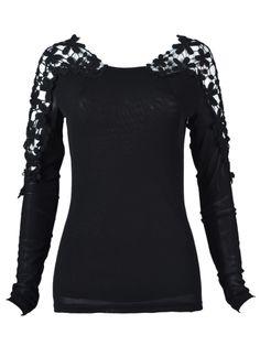 Black Lace Hollow Out Long Sleeve T-shirt - Choies.com