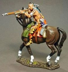 French & Indian War RSF-21A Woodland Indian Mounted Firing Musket - Made by John Jenkins Designs Military Miniatures and Models. Factory made, hand assembled, painted and boxed in a padded decorative box. Excellent gift for the enthusiast.