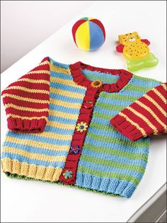 Baby Knitting Patterns combine Knitting - Patterns for Children Babies - Cardigan Patterns - Sunny Stripes Baby Knitting Patterns, Baby Cardigan Knitting Pattern, Knitting For Kids, Easy Knitting, Baby Patterns, Vintage Patterns, Cardigan Bebe, Summer Cardigan, Striped Cardigan
