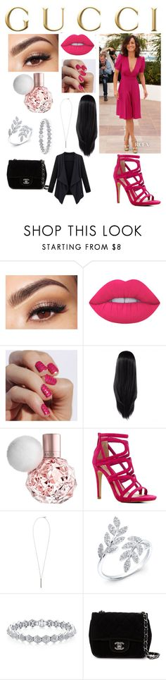"""""""Gucci look"""" by sarah4ever123 ❤ liked on Polyvore featuring Gucci, Lancôme, Lime Crime, ALDO, French Connection and Chanel"""