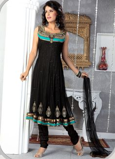 This is great for girls who love wearing black with a *pop!* of color! i like the almost Egyptian like detail at the top.