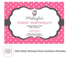 Download now free template kids birthday party invitation wording hello kitty pink printable invitation personalized birthday party baby shower etc filmwisefo Image collections