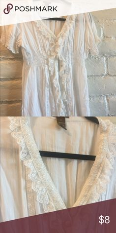 White lace button up top Very flattering and feminine top with lace detail Copper Key Tops Button Down Shirts