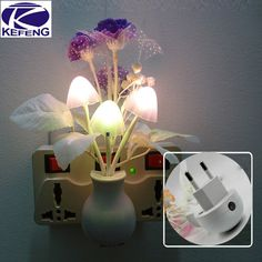 220V Baby Night Romantic Colorful Dream Sensor LED Night Light Lamp Mushroom Flower Plant For Home Bedroom Decoration EU US Plug