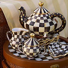 Looking Glass: Courtly Teapot & Tea Set by MacKenzie-Childs. - Tea Set - Ideas of Tea Set - Looking Glass: Courtly Teapot & Tea Set by MacKenzie-Childs. Mckenzie And Childs, Cafetiere, Tea Pot Set, Mad Hatter Tea, Mad Hatters, Teapots And Cups, Tea Service, My Cup Of Tea, Chocolate Pots