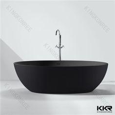 Kingkonree freestanding black solid surface bathtub