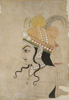 Head of Krishna, ca. 1800  Attributed to Sahib RamIndia (Rajasthan, Jaipur)Cartoon for a mural depicting the Rasalila (Circle dance of Krishna and thegopis)Ink and watercolors on paper  http://www.metmuseum.org/toah/works-of-art/18.85.2