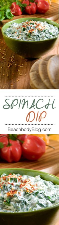 We created a lighter version of the classic spinach dip, perfect for parties and potlucks. Ours has only 32 calories per serving. Eat it with raw veggies like carrots, celery sticks, radishes, or sliced bell peppers. For a spicy kick, sprinkle with a red pepper flakes before serving. #recipes #snacks #vegetarian #BigGame #HealthyRecipes