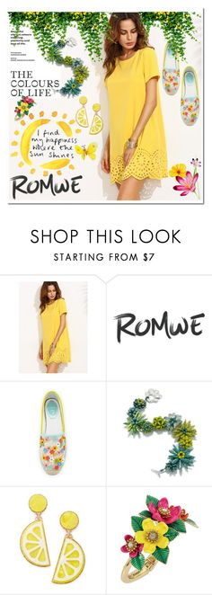 """Yellow Dress Contest"" by anninad ❤ liked on Polyvore featuring René Caovilla, Celebrate Shop and Betsey Johnson"