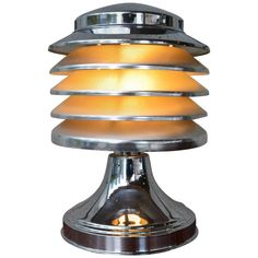 Chrome Plated Stacked Five-tier Art Deco Metal Lamp By Coulter Lamp Toronto Art Deco Door, Bauhaus Art, Art Deco Table Lamps, Streamline Moderne, Art Deco Movement, Design Movements, Modern Furniture, Furniture Design, Chrome Plating