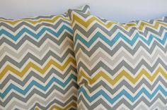 """Throw pillows zig zag chevron stripe set of two 18"""" x 18"""". $32.00, via Etsy."""