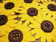 Items similar to Sunflower embellishments, set of 8 on Etsy Button Art, Button Crafts, Sunflower Crafts, Paper Crafts, Diy Crafts, Candy Cards, Scrapbook Embellishments, Punch Art, Scrapbook Cards