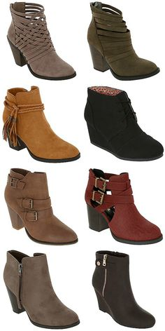 Love the booties, especially the strap/woven look. -D
