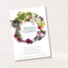 Wedding invitation   floral wreath  printable by katiejardineART
