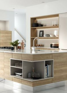 Simple wooden kitchen with island in a modern design - White Kitchen Remodel Modern Kitchen Interiors, Modern Kitchen Design, Modern Design, Room Interior Design, Wooden Kitchen, Küchen Design, Cool Kitchens, Home And Living, Kitchen Remodel