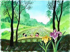 智光山公園の花菖蒲園(柏原地区) 「花菖蒲園」は6月中旬が見ごろで、約150種、2,600株の花が咲き揃います。   小雨の降るときなど、雑木林に囲まれた、しっとりとした静けさがなんともいえず、目も心も楽しませてくれます。 どこから眺めても忘れられない風景の一つです。