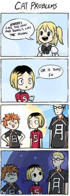 Haikyuu!! | Hinata, Tsukishima and Kenma | cat problems lol | idk why but i'm laughing so hard