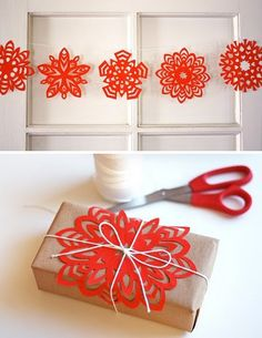 Colorful snowflake garland and wrapping ideas