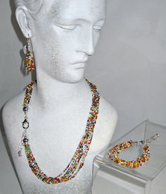 African Christmas Bead Necklace Earring and by blingbychristine, $46.50