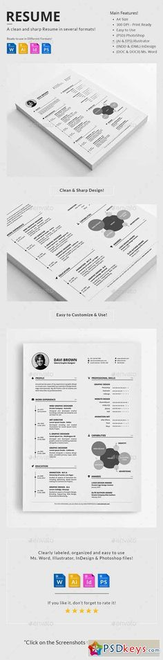 Resume Template, Cv template and Resume cv - clean resume template word