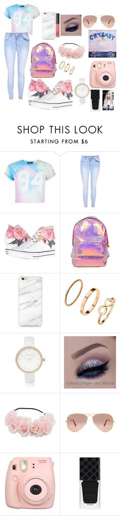 """""""cry baby"""" by taylapayno ❤ liked on Polyvore featuring New Look, Glamorous, Converse, Miss Selfridge, H&M, River Island, NARS Cosmetics, Ray-Ban, Fujifilm and Gucci"""