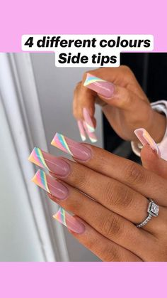 Acrylic Nails Coffin Ombre, Colored Acrylic Nails, Best Acrylic Nails, Coffin Nails Designs Summer, Cute Acrylic Nail Designs, Spring Nails, Summer Nails, Ambre Nails, Bright Summer Acrylic Nails