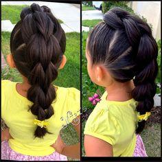 Today's hair style  #pullthroughbraid #3strandpullthroughbraid  inspired by @prettylittlebraids #braidsforlittlegirls #sweetheartshairdesign #phifinspireme #solopeinados