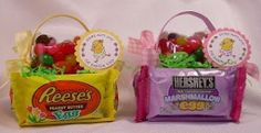 easter basket for teens | These edible Easter baskets using Hershey chocolate eggs and Resses ...