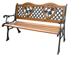 Iron And Wood Patio Furniture black iron heart bench |  outdoor furniture » outdoor chairs