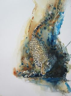 Jaguar. Original painting by Karen Laurence-Rowe. I am sure her work is in the thousands of dollars...maybe the average guy can purchase a print someday. Visit her website to see more of her work. Fabulous!!!