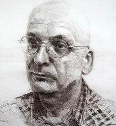 Study of Roddy Doyle by Colin Davidson.crayon on paper 2011 Portrait Sketches, Pencil Portrait, Portrait Art, Art Sketches, Unique Drawings, Realistic Drawings, Pencil Painting, Sketch Painting, Colin Davidson